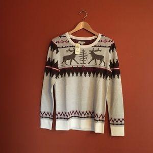NWT LL.Bean reindeer ski snow sweater slim size M